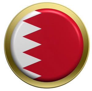 Bahrain Flag On The Round Button Isolated On White.