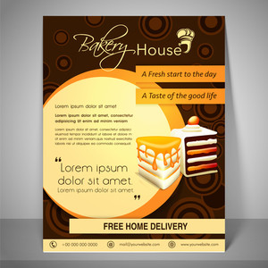 Bakery house menu and banner with address bar place holder and mailer on stylish background.