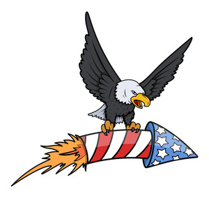 Bald Eagle Holding A Sky Firecracker On 4th Of July