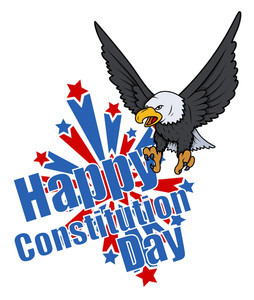 Bald Eagle  Usa  Constitution Day Vector Illustration