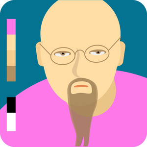 Bald Man With A Beard. Vector Minimal Flat Icon.