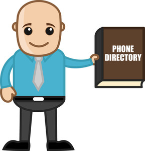 Bald Man With Phone Directory