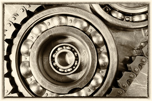 ball-bearings and gears, titanium and steel