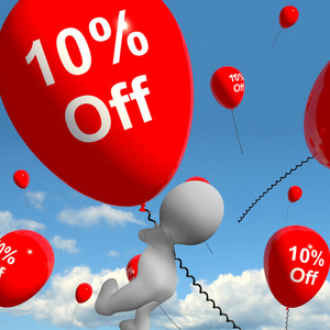 Balloon With 10% Off Showing Discount Of Ten Percent