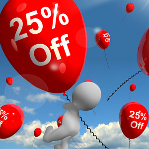 Balloon With 25% Off Showing Discount Of Twenty Five Percent