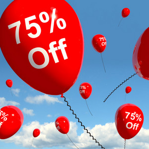 Balloon With 75% Off Showing Sale Discount Of Seventy Five Percent