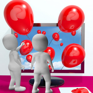 Balloons Coming From Screen Show Online Celebrations
