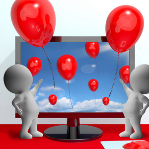 Balloons Coming Out Of Screen For Online Greeting