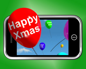 Balloons Floating From Mobile Phone With Happy Xmas