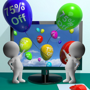 Balloons From Computer Showing Sale Discount Of Seventy Five Percent