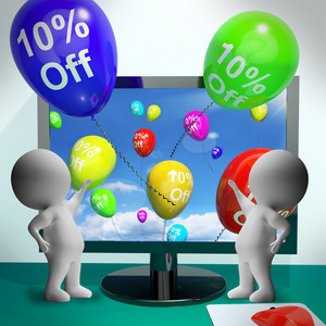 Balloons From Computer Showing Sale Discount Of Ten Percent
