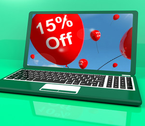 Balloons On Computer Showing Sale Discount Of Fifteen Percent Online