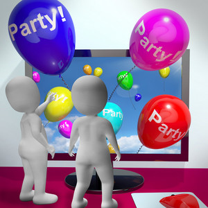Balloons With Party Text Showing Invitations Sent Online