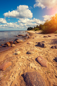 Baltic sea coast. Stone boulders on the beach