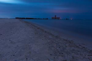 Baltic shore near Gdynia. Beautiful dramatic weather seascape of polish shore of Baltic sea photographed at night.