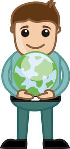 Ban Holding An Earth Sign - Cartoon Office Vector Illustration