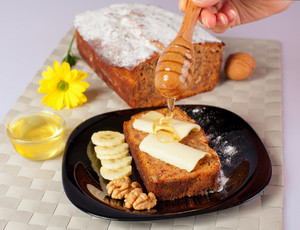 Banana bread with honey and walnuts