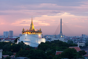 Crepúsculo Bangkok City At