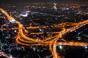 Bangkok Cityscape Expressway and Highway top view on evening, Thailand