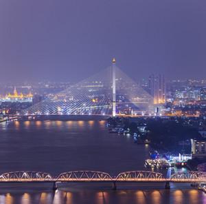 Bangkok twilight cityscape topview. Thailand.