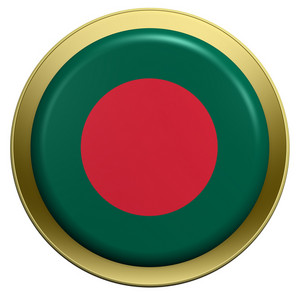 Bangladesh Flag On The Round Button Isolated On White.