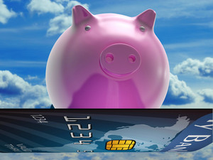 Bank Card Pig Shows Investment And Money