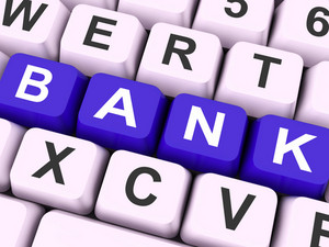 Bank Key Shows Online Or Electronic Banking