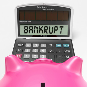 Bankrupt Calculator Shows Financial And Credit Problem