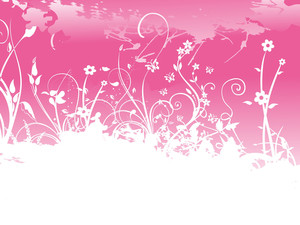 Banner Grunge Floral Background
