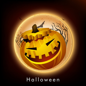 Banner Or Background For Halloween Party Bnight Concept With Scary Pumpkin On Shiny On Brown Background.