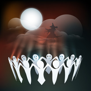 Banner Or Background For Halloween Party Concept With Ghost Enjoying Party In The Night.