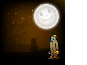 Banner Or Background For Halloween Party Concept With Ghost In Night Background.