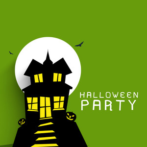 Banner Or Background For Halloween Party Concept With Haunted House On Green Background