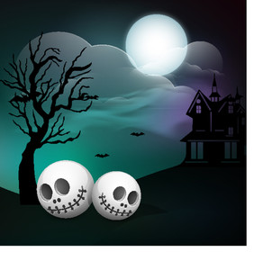 Banner Or Background For Halloween Party Concept With Human Skull On Spooky Night Background.