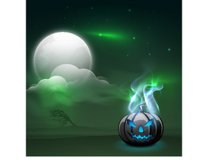 Banner Or Background For Halloween Party Concept With Scary Pumpkin In Flame On Green Background.