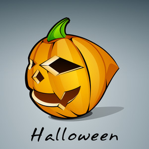 Banner Or Background For Halloween Party Concept With Scary Pumpkin On Blue Background.