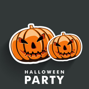 Banner Or Background For Halloween Party Concept With Scary Pumpkins On Grey.