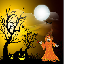 Banner Or Background For Halloween Party Concept With Scary Witch On Night Background.
