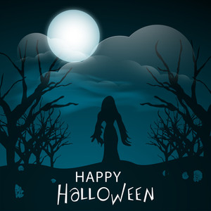 Banner Or Background For Halloween Party Concept With Silhouette Of A Witch On Spooky Night Background.