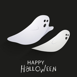Banner Or Background For Halloween Party Concept With Traditional Ghost On Grey Background.