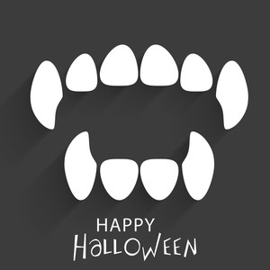 Banner Or Background For Halloween Party Concept With Witch Teeth On Grey Background.