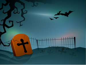 Banner Or Background For Halloween Party Night And Grave Stone.