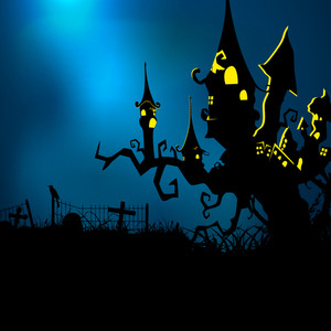Banner Or Background For Halloween Party Night And Haunted House On Blue