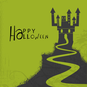 Banner Or Background For Halloween Party Night And Haunted House.