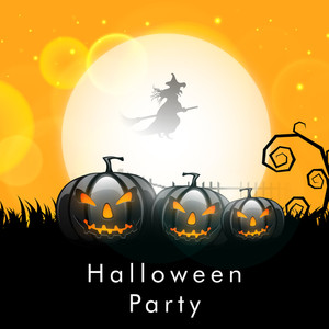Banner Or Background For Halloween Party Night And Pumpkins On Yellow Background.
