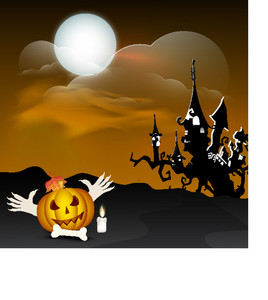 Banner Or Background For Halloween Party Night Background With Scary Pumpkins And Dead Tree.