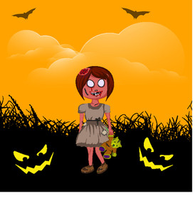 Banner Or Background For Halloween Party Night Concept With Dangerous Witch On Scary Night Background.