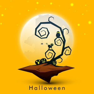 Banner Or Background For Halloween Party Night Concept With Dead Tree And Scary Pumpkins On Yellow Background.
