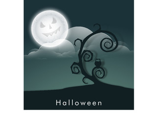 Banner Or Background For Halloween Party Night Concept With Dead Tree On Blue Background.
