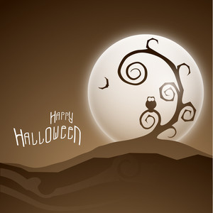 Banner Or Background For Halloween Party Night Concept With Dead Tree On Brown Background.